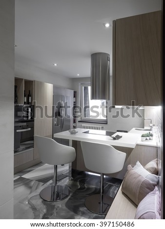 Luxury apartment dinning and kitchen space