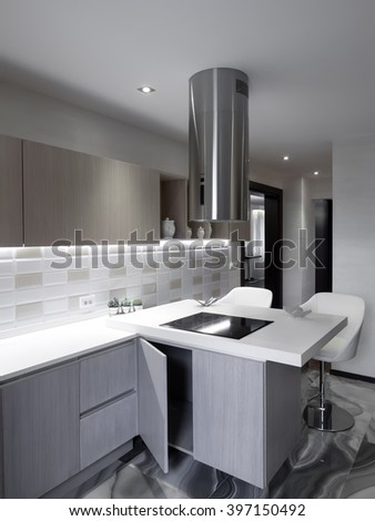 Luxury apartment dinning and kitchen space - stock photo