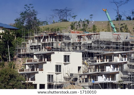 luxury apartments under construction - stock photo