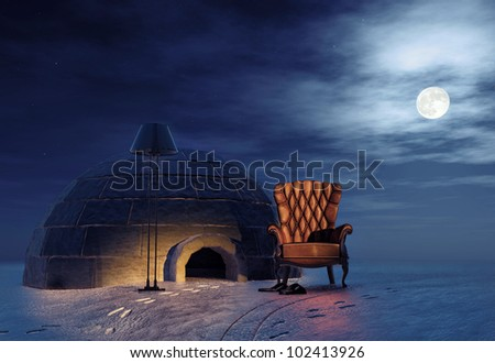 luxury armchair in winter landscape and igloo (3d concept) - stock photo