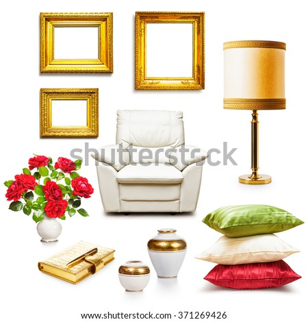 Luxury armchair, table lamp, pillows, vases and gold frames. Interior objects collection isolated on white background. Design elements - stock photo