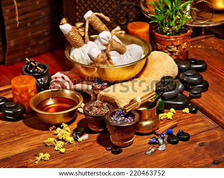 Luxury ayurvedic spa massage still life. - stock photo