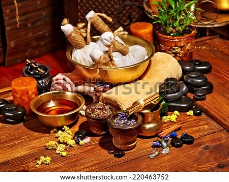Luxury ayurvedic spa massage still life. - stock photo