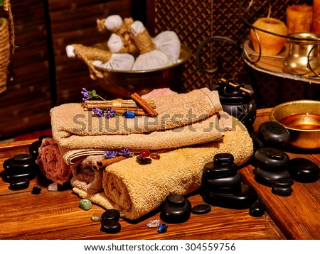 Luxury ayurvedic spa massage still life. Spa resorts in India - stock photo
