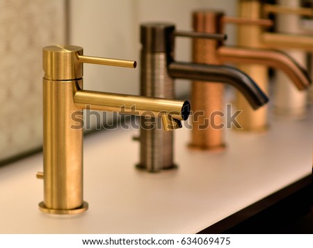 Luxury Bathroom Gold Faucet Golden Faucet Stock Photo (Royalty Free)  634069475   Shutterstock
