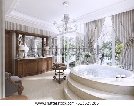Luxury Bathroom In Classic Style. Bathroom With Jacuzzi, Shower And Bathroom  Furniture. 3D