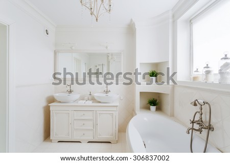 Luxury bathroom in the french style in the house  - stock photo