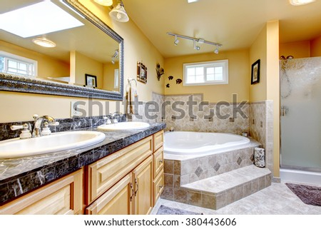 Luxury bathroom with brilliant interior and jacuzzi style bath. - stock photo