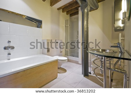 luxury bathroom with contemporary elements in warehouse conversion - stock photo