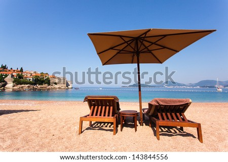 Luxury beach at the Adriatic Sea, St. Stefan, Montenegro