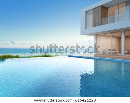 Luxury beach house sea view swimmingภาพประกอบสต็อก 616421228