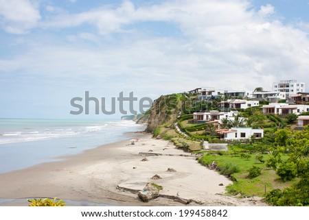 luxury beachfront development on the secluded beachfront at Jama Ecuador - stock photo