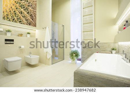 Luxury beauty bathroom in pastel colors interior