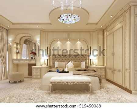 Luxury bed large neoclassical bedroom decorative stock for Neoclassical bedroom interior design
