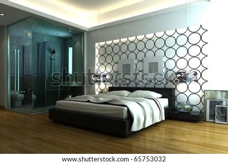 luxury bed room with bathroom - stock photo