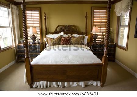 Luxury bedroom and decor. - stock photo