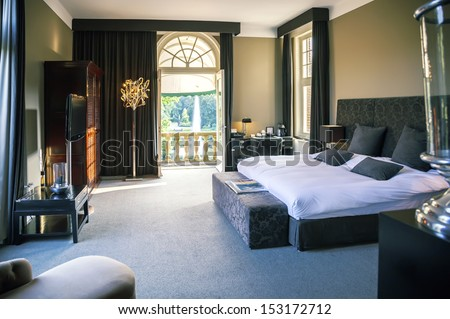 luxury bedroom in hotel  - stock photo