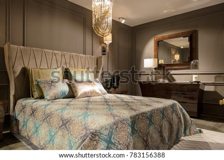 Luxury Bedroom Interior Carved Wood Bed Stock Photo (Royalty Free ...