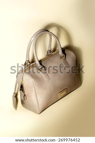 Luxury beige leather women bag