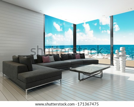 luxury black couch maritime style living stock illustration 171367475 shutterstock. Black Bedroom Furniture Sets. Home Design Ideas