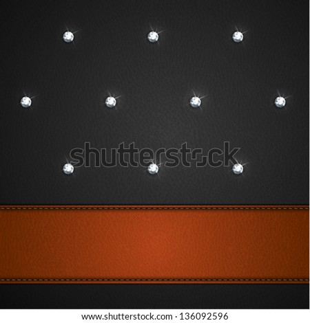 Luxury black leather background with leather stripe and diamonds  - raster version - stock photo