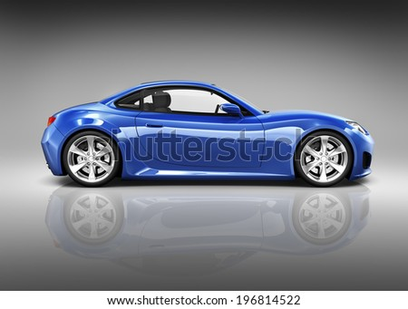 Luxury Blue 3D Sports Car - stock photo
