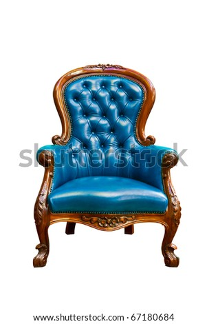 luxury blue leather armchair isolated on white background - stock photo