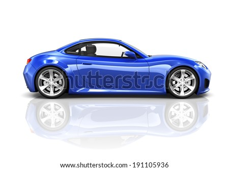 Luxury Blue Sports Car 3D - stock photo