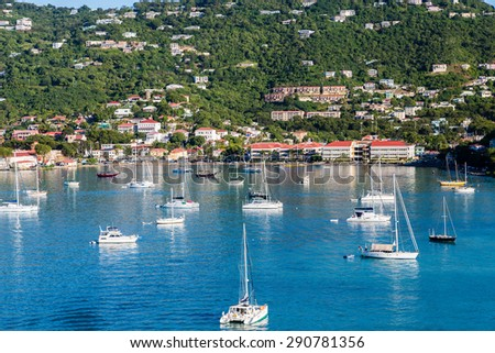 Luxury boats in the harbor of Charlotte Amalie off the coast of St Thomas in the US Virgin Islands