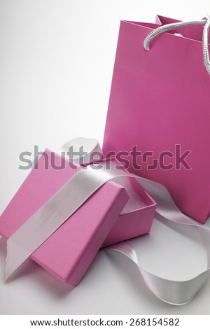 Luxury box tied with a white ribbon. - stock photo