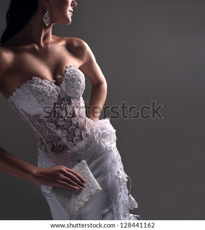 luxury bride in form-fitting dress, catalog photo