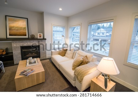 Luxury bright living room with a fireplace. Interior design. - stock photo