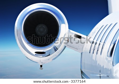 Luxury Business Private Jet Cruising at High Altitude - stock photo