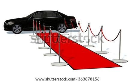 luxury car and silver stanchions and a red carpet  - stock photo