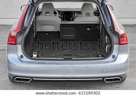Luxury car boot with folded seats