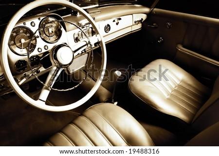 Luxury car interior - stock photo