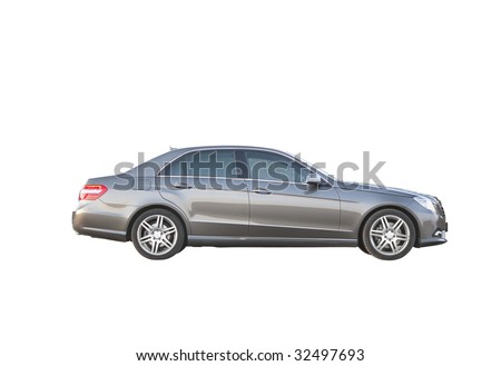 Luxury car isolated over white background side view no trademarks