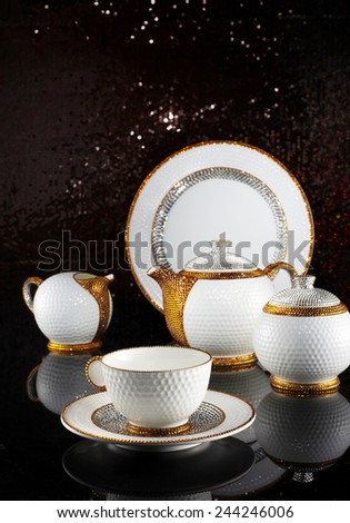 Luxury ceramic tableware  - stock photo