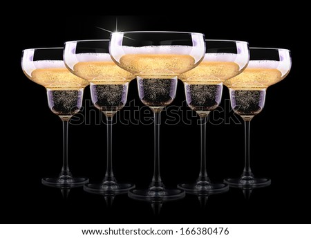 luxury champagne glass on a black background - stock photo