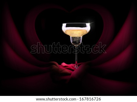 luxury champagne glass with a red silk
