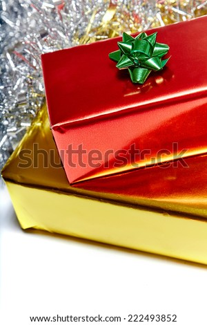 Luxury christmas presents from santa - stock photo