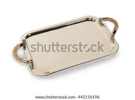 Luxury classic silver tray salver isolated on white background - stock photo