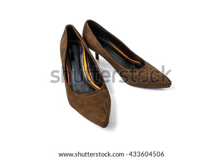Luxury Classic women shoes brown on white background