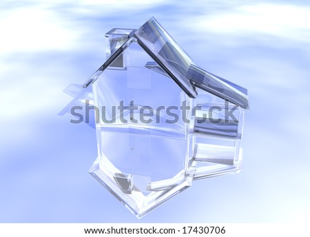 Luxury Clear Glass Diamond House Model on Blue-Sky Background with Reflection Concept Luxurious and Expensive Expense - stock photo