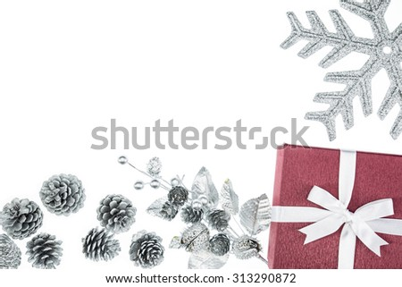 luxury color gift box for holiday event silk wrap pine cone on white background isolated - stock photo