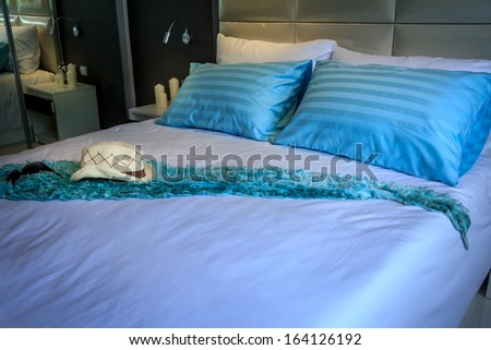 Luxury Comfortable Holiday Bedroom With Blue Pillow