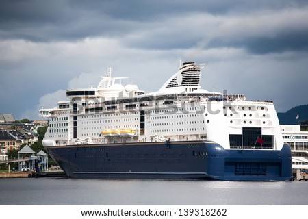 Luxury Cruise Ship Anchored in the Norway Oslo - stock photo