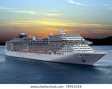 Luxury cruise ship sailing from port on sunset. - stock photo