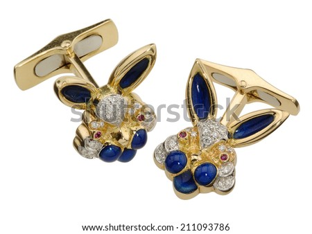 Luxury cuff links Isolated on a white background - stock photo