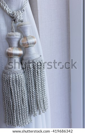 Luxury curtain gray with clipping path in luxury room. - stock photo